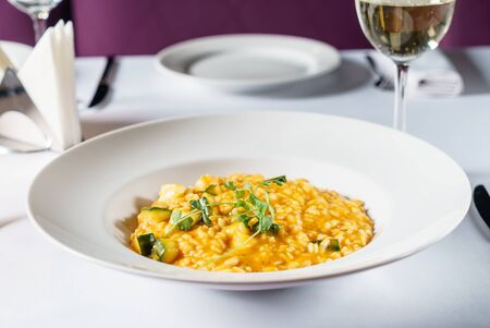 pumpkin risotto in the restaurant