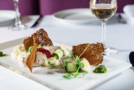 gourmet salad in the restaurant Фото со стока