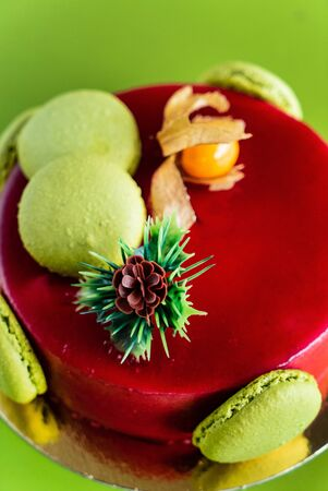 Mousse  Christmas cake with macaroons