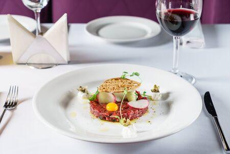 beef tartar with egg Stock fotó