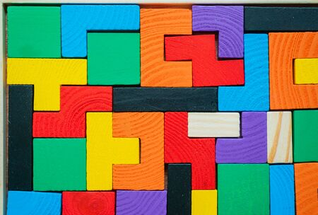 Tetris toy wooden blocks closeup