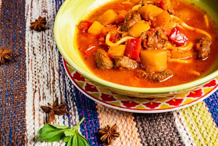 beef stew (or soup) with a rich paprika seasoned broth Stock Photo
