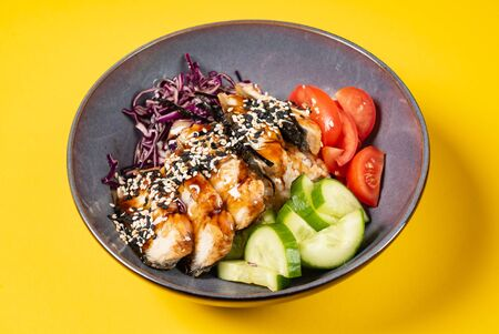 eel with fresh vegetables on the yellow backgound 스톡 콘텐츠