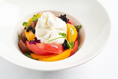 burrata with fresh ripe tomatoes Stockfoto
