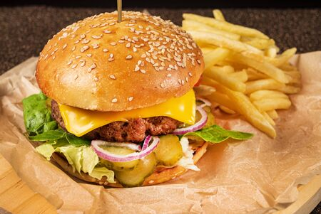 burger with french fries on the parchment 版權商用圖片