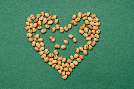 roasted soy beans, top view