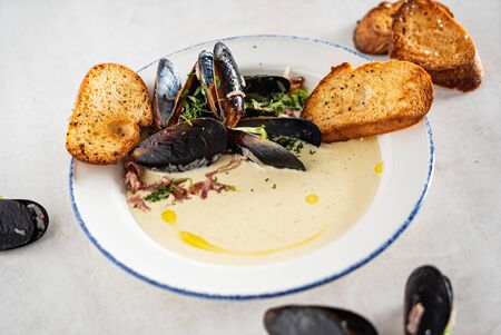 soup with mussels and cream cheese