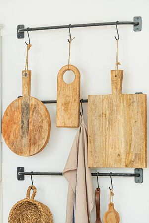 wooden board on the hooks Stock Photo