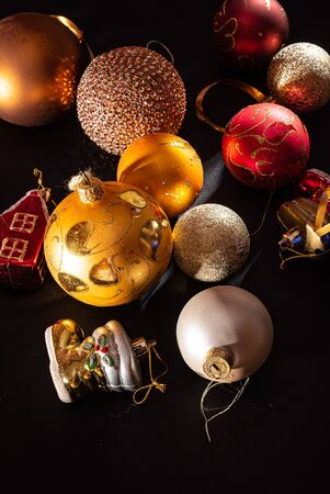 Christmas balls on the black background