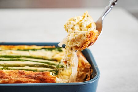 pie with cheese and asparagus