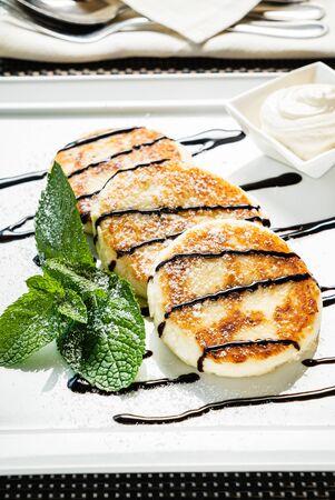 cream cheese pancakes with sour cream 版權商用圖片