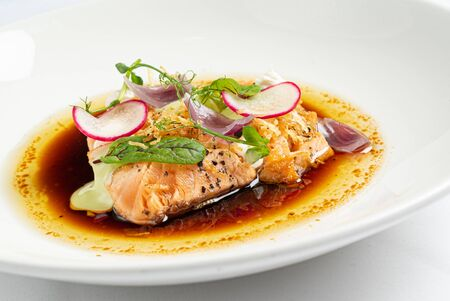 roasted salmon with vegetables and herbs