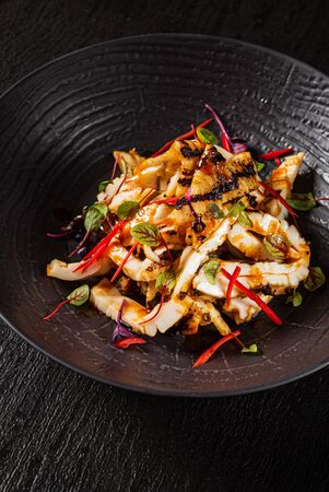 grilled calamari with spicy sauce