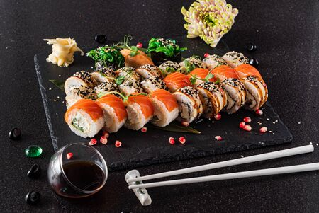 sushi on the black background 스톡 콘텐츠 - 129996341