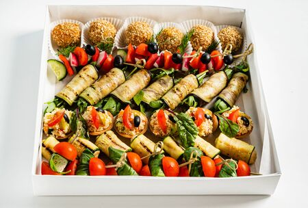 tasty appetizers in the box Banco de Imagens