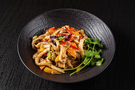 seafood dish on the black background 스톡 콘텐츠