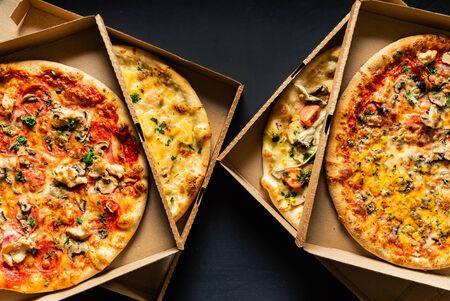 pizza on the black background Stockfoto