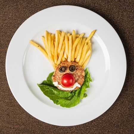chicken cutlet with french fries Stockfoto