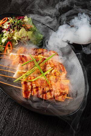 fish kebabs with fresh salad