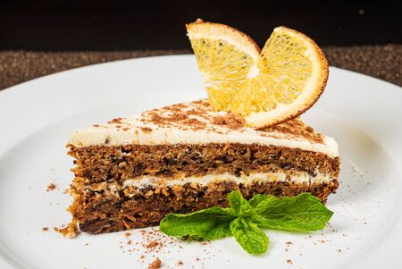 carrot cake with orange and mint