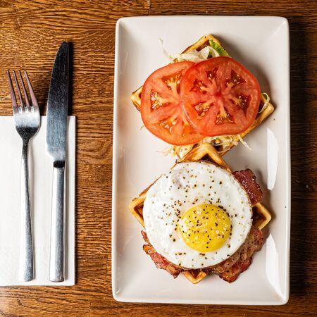 tasty breakfast in the cafe