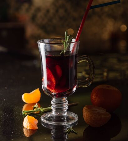 winter drink with fresh fruits
