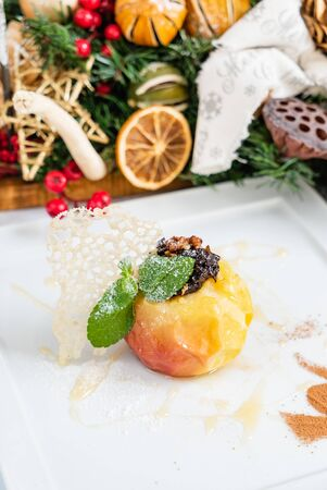 baked apple on Christmas table