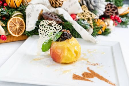 baked apple on Christmas table