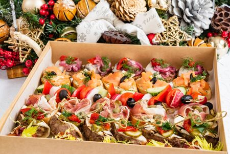 Christmas appetizers in the box Stock Photo