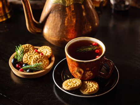 Christmas tea with cookies and candy Stock Photo