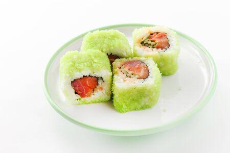 tasty sushi on the white