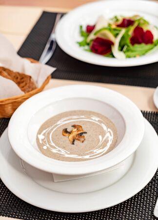 mushroom cream soup in the restaurant