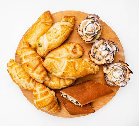 wooden tray with different bakery products Reklamní fotografie
