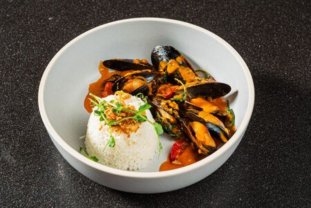 Cooked Mussels  with rice and sauce Stock fotó