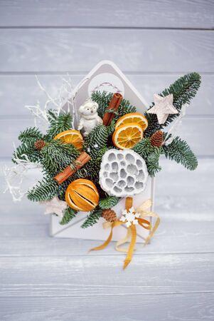 nice winter bouquet with orange