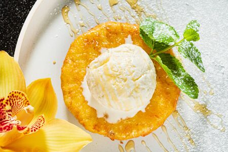 fried pineapple with ice cream