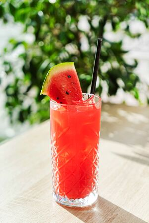 watermelon mocktail in the cafe