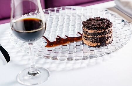 chocolate cake with sherry in restaurant