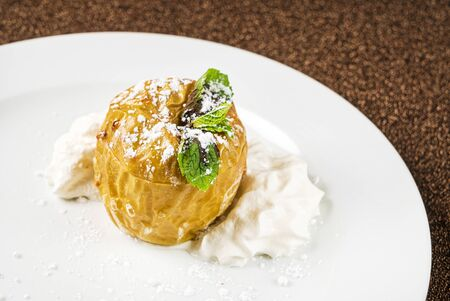 roasted apple with whipped cream