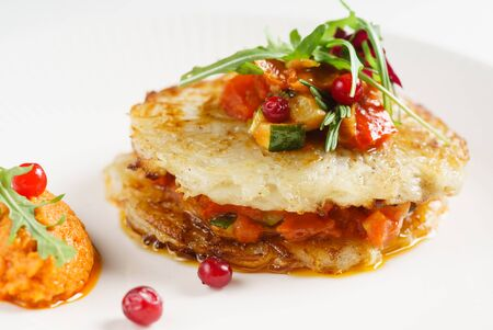 potato pancakes with vegetables and herbs