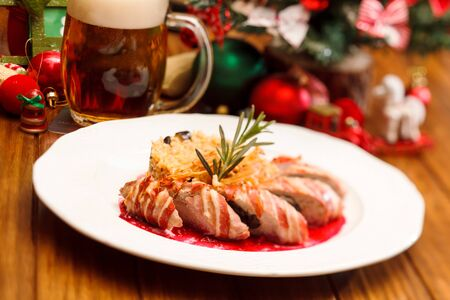 sausages with cabbage on Christmas table