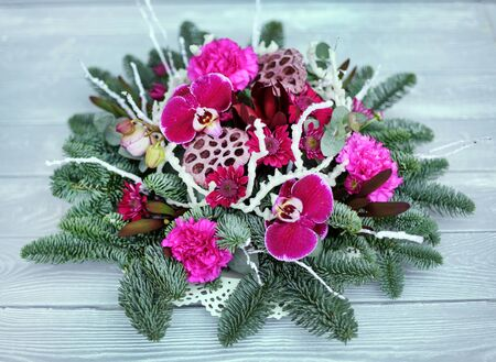 nice winter bouquet on the wooden background