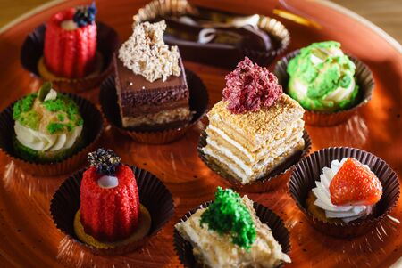 french pastries on the Christmas catering table Reklamní fotografie