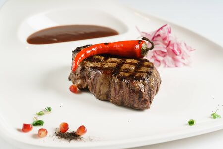 steak with hot red pepper