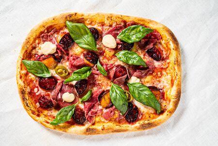 creative pizza with beef and cherries 版權商用圖片
