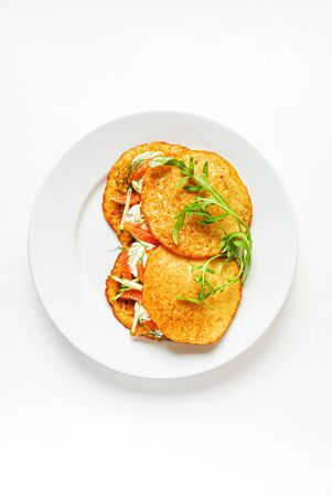 potato pancakes with salmon and cream cheese