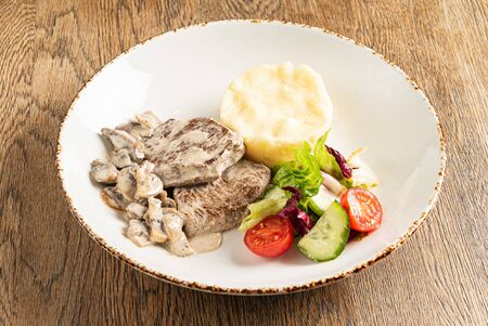 meat with mashed potato and vegetables Stock fotó - 131941696