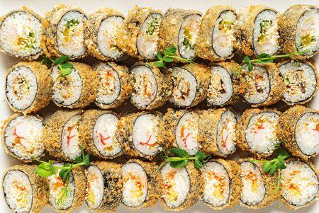 tasty sushi on the white background