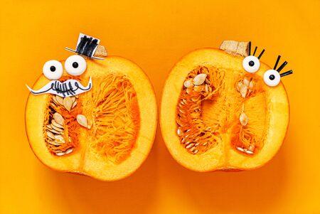 organic pumpkin on the yellow background
