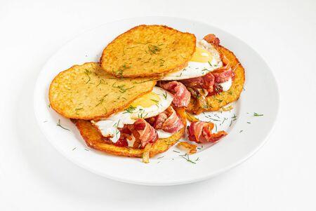 potato pancakes with bacon and eggs